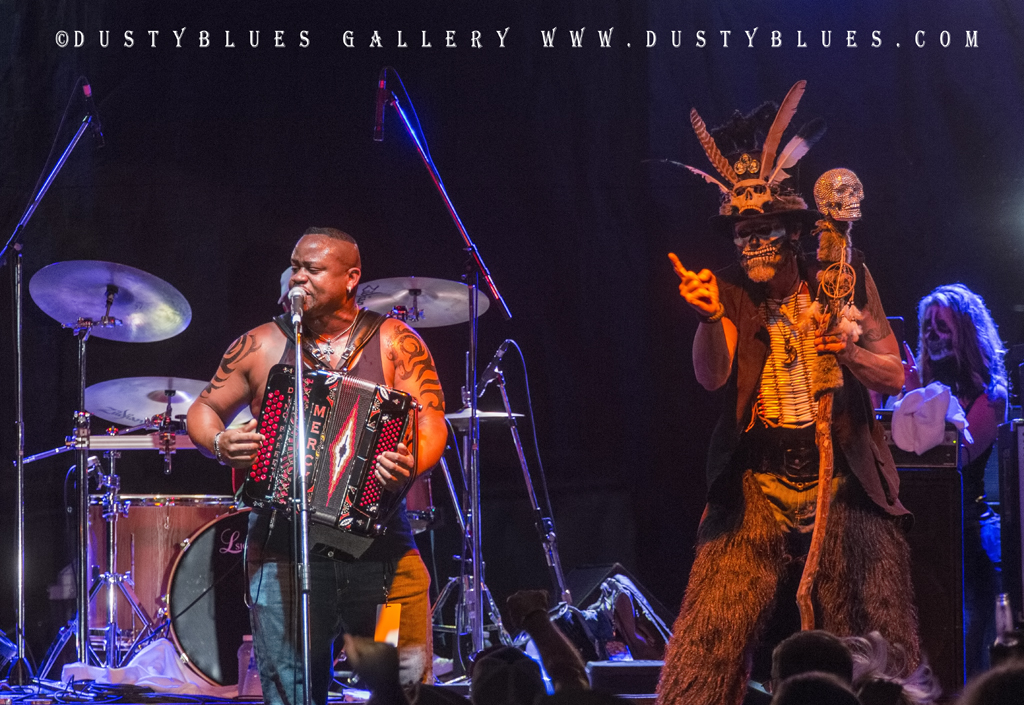 A Witch Doctor on stage during a Zydeco performance