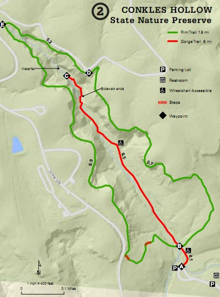The Trail System and amenities map of Conkle's Hollow State Preserve