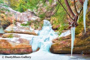 Frozen Cedar Falls print