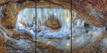 Ice Cave, Hocking Hills, DustyBlues, DustyBlues Gallery, Panorama, triptych, canvas,