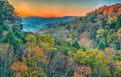 Art gallery in hocking hills, crystal falls hocking hills, hocking hills photo prints, logan ohio gallery, Hocking Hills Photography, Conkles Dusk, Conkles Hollow Cliff Dusk, Conkles Cliff Fall