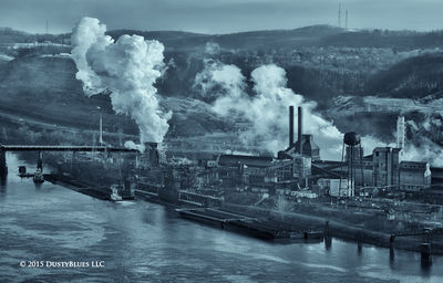 Steel, Steel Mill, Foundry, Ohio River, Tug, Barge, Winter, Cold, Pittsburgh Photographer, Pittsburgh Photography, Pittsburgh Fine Art Photography, Blues Photography, Fine Art Photography, Black and W