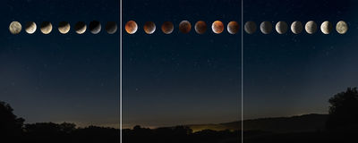 Full Moon, Total Eclipse, Panorama, Triptych, Blood Moon, Hocking Hills, Night Skies, DustyBlues, DustyBlues Gallery,