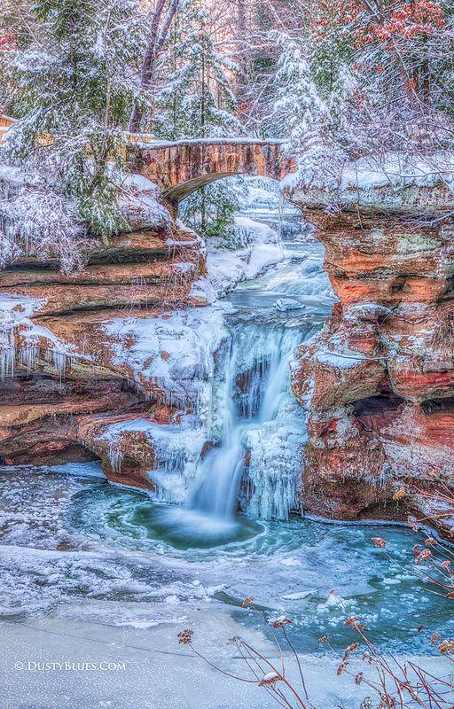 Old Man's Cave Winter Falls print