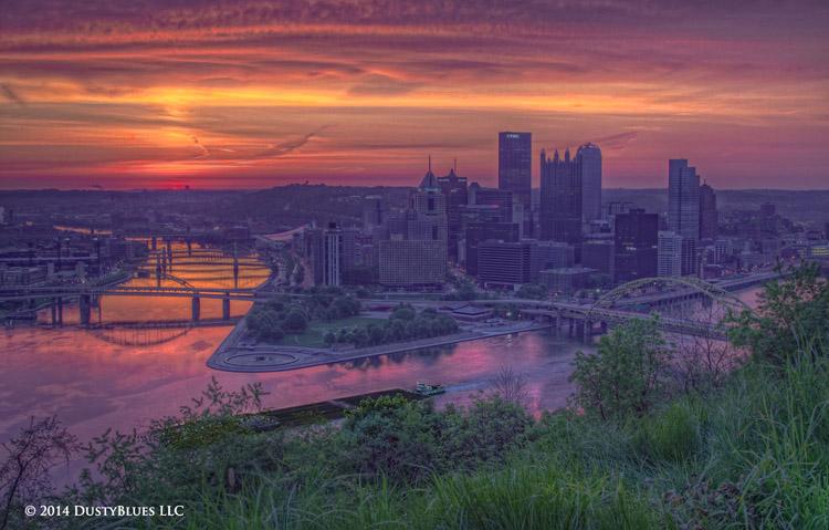 DustyBlues, Pittsburgh, Tug, Barge, Dawn