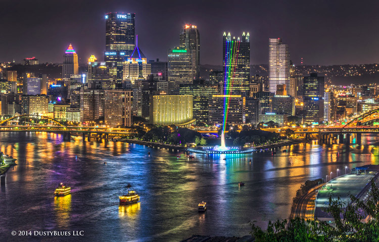 DustyBlues, Pittsburgh, Fountain, Rainbow, PPG Place, PPG, Point Park