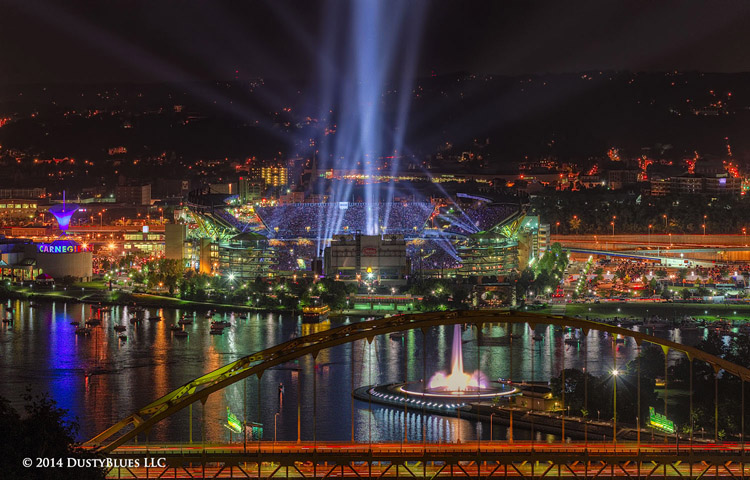 DustyBlues, Pittsburgh, Laser, Light Show, Heinz Filed, Concert, Ohio River