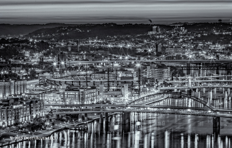 Pirates, PNC Park, Twilight, Pittsburgh Photographer, Pittsburgh Photography, Pittsburgh Fine Art Photography, Blues Photography, Fine Art Photography, Black and White Photography