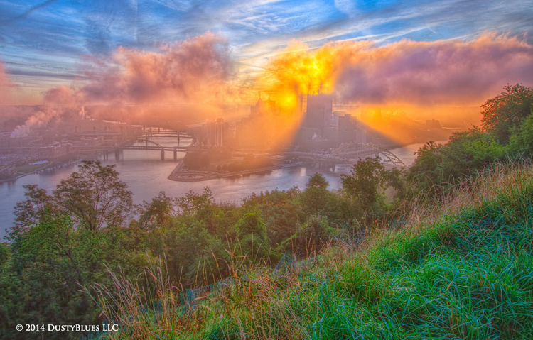 DustyBlues, Pittsburgh, Reflections, Mirrored, Sun Beams, Fog