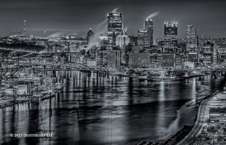 Christmas, Point State Park, Pittsburgh Fountain, Ohio River, Winter, Pittsburgh Photographer, Pittsburgh Photography, Pittsburgh Fine Art Photography, Blues Photography, Fine Art Photography, Black a