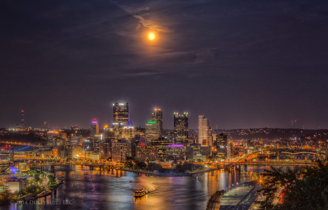 DustyBlues, Pittsburgh, Blue Moon, Moon , photo