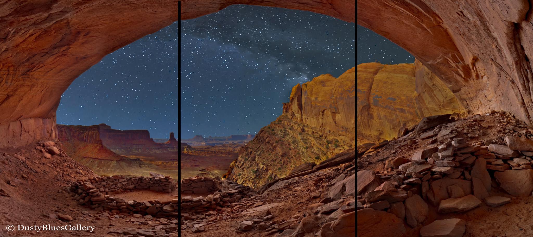 Panorama, Triptych, Canvas, Canvas Panels, Desert Southwest, Milky Way, DustyBlues, DustyBlues Gallery, Hocking Hills, Anasazi, ancient desert tribe , photo