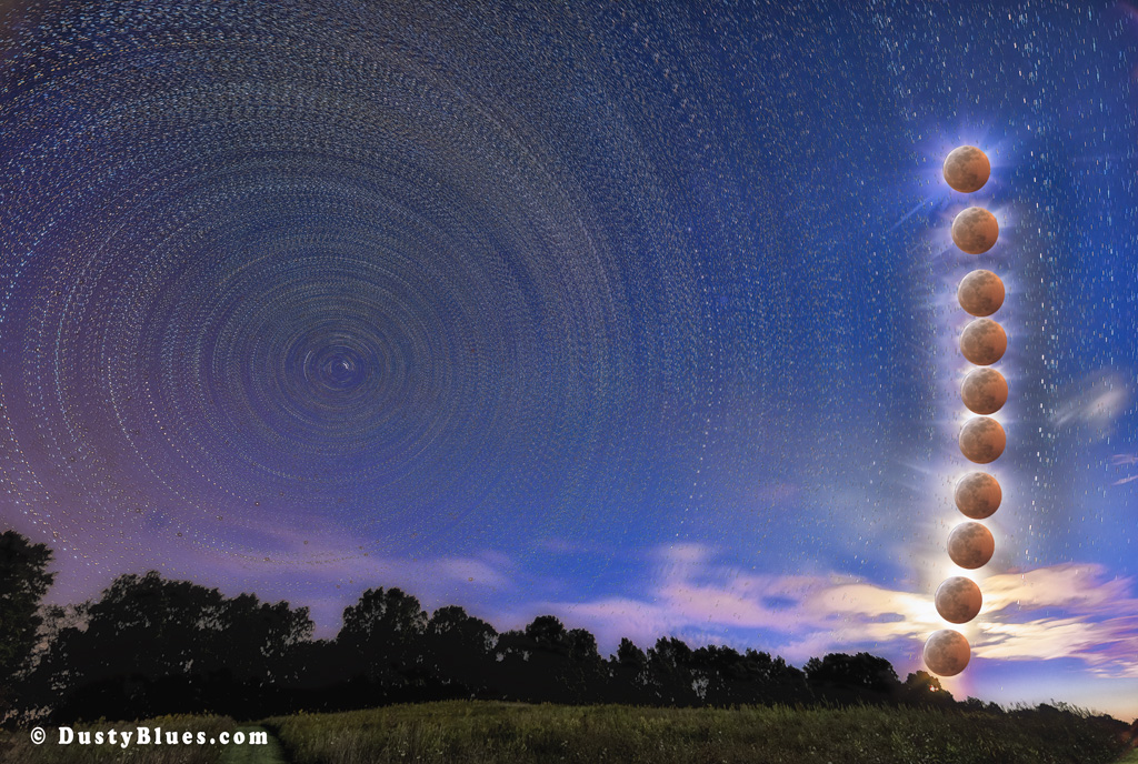 A night of star trails and the Full Moon rising