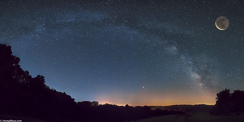 Hocking Hills Night Skies. Looking East toward Logan this evening in mid Summer, the Milky Way rises after dark as the slim cresent...