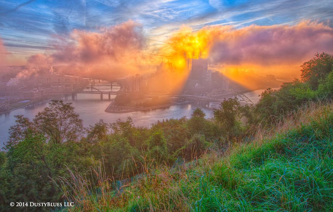 DustyBlues, Pittsburgh, Reflections, Mirrored, Sun Beams, Fog , photo