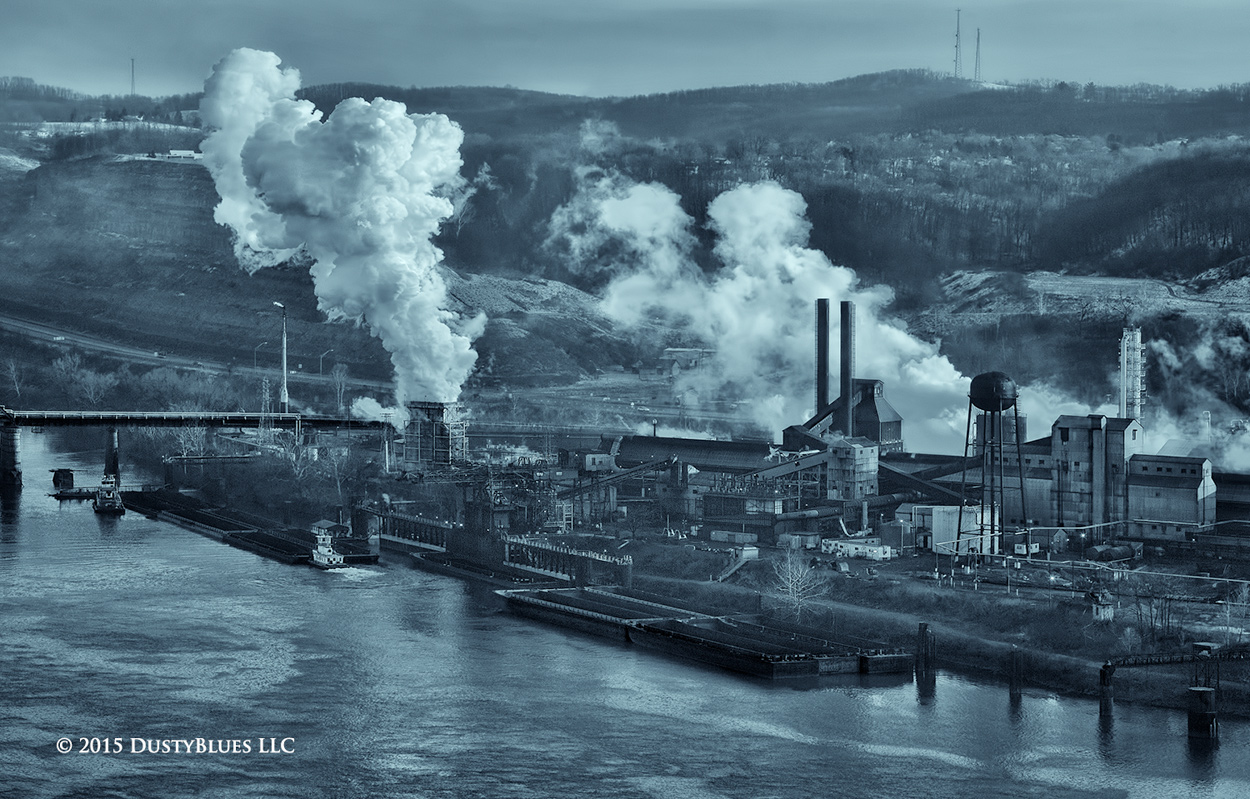 Steel, Steel Mill, Foundry, Ohio River, Tug, Barge, Winter, Cold, Pittsburgh Photographer, Pittsburgh Photography, Pittsburgh Fine Art Photography, Blues Photography, Fine Art Photography, Black and W, photo