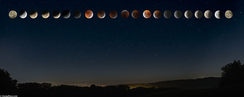 Hocking Hills Night Skies. This composite displays a Full Blood Moon Eclipse in totality. The Hocking skies were perfect to capture...