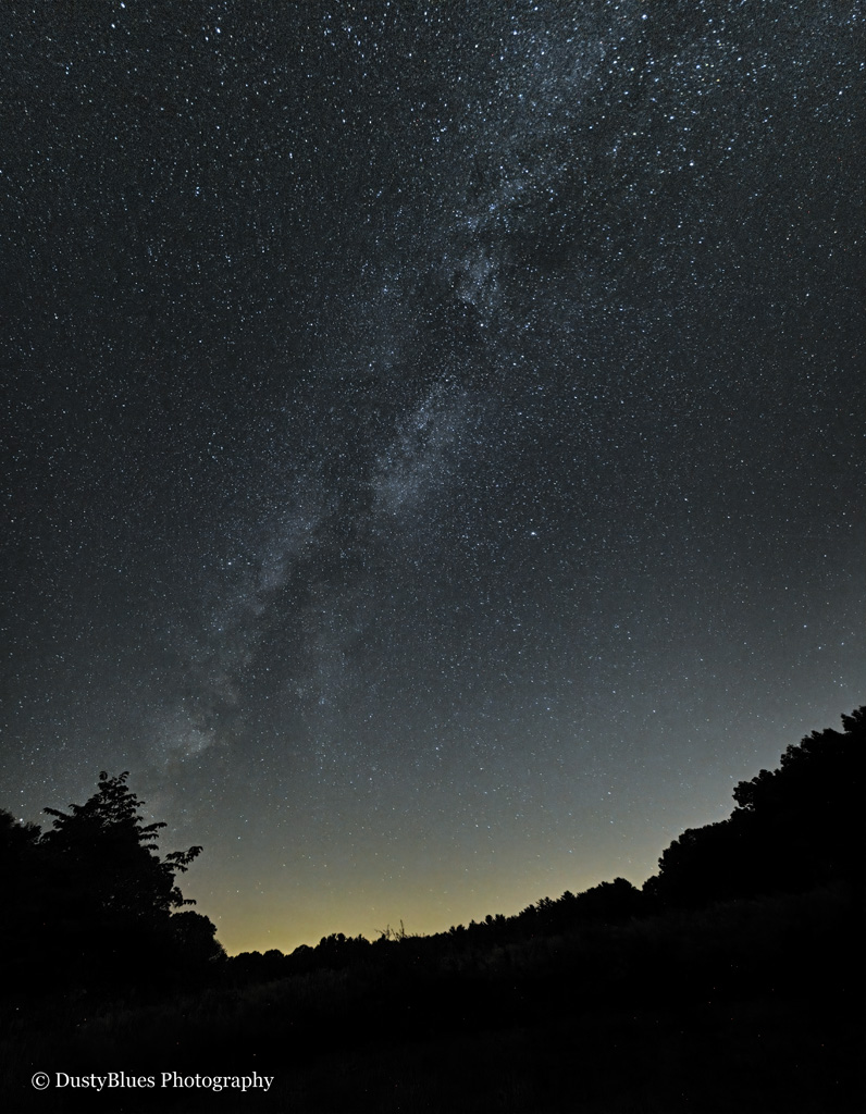 The Milky Way glows over the Hocking Hills