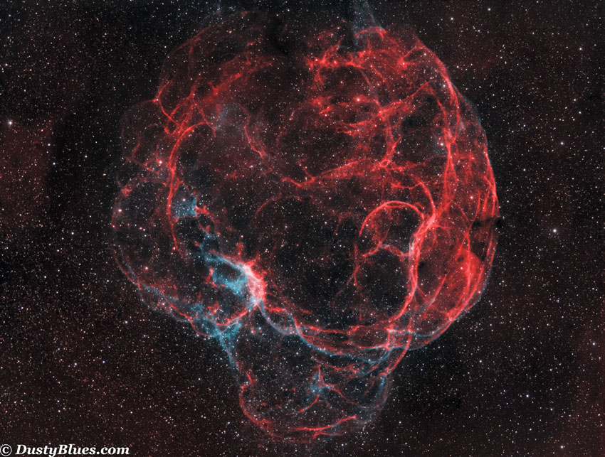 Simeis 147 is a very large supernova remnant (3 degrees in apparent diameter) that is captured here with various filters, a monochrome...