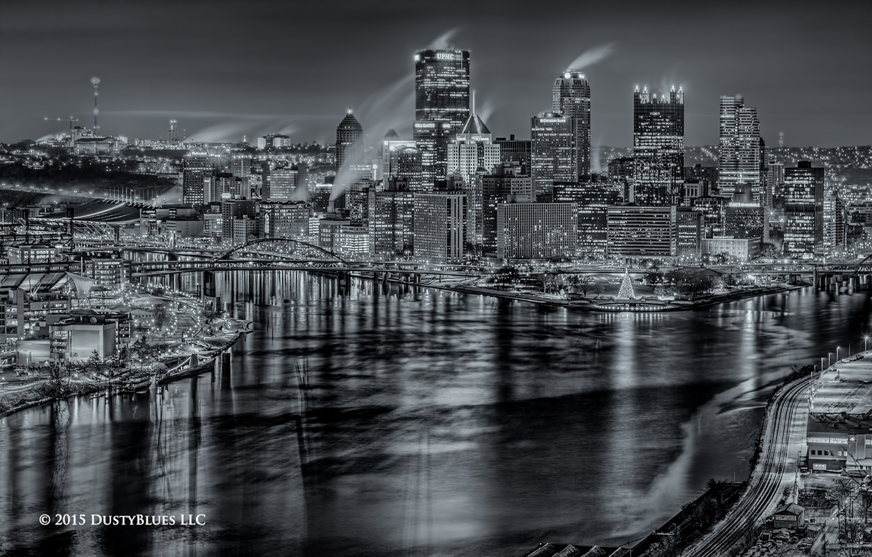Christmas, Point State Park, Pittsburgh Fountain, Ohio River, Winter, Pittsburgh Photographer, Pittsburgh Photography, Pittsburgh Fine Art Photography, Blues Photography, Fine Art Photography, Black a, photo